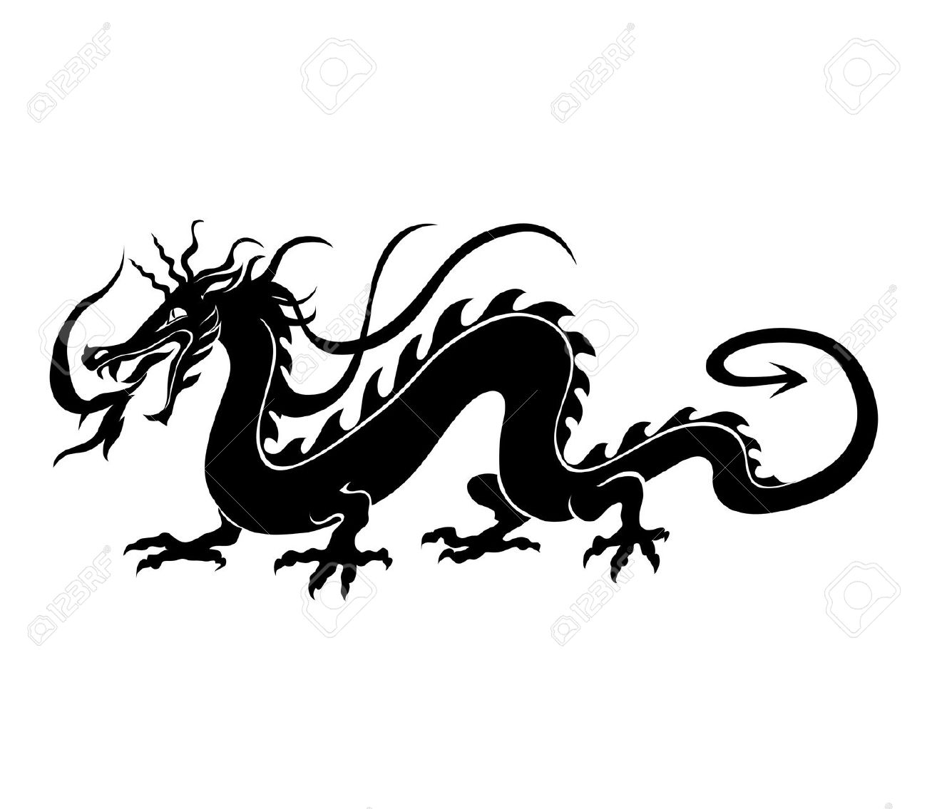 Vector Illustration Of Angry Chinese Dragon In A Tattoo/ Tribal.