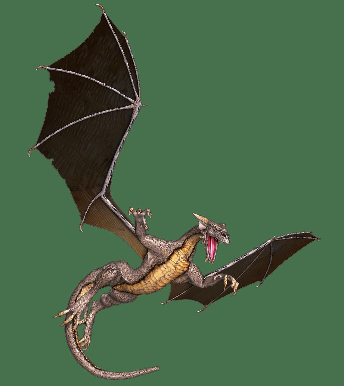 Dragon Brown Flying transparent PNG.