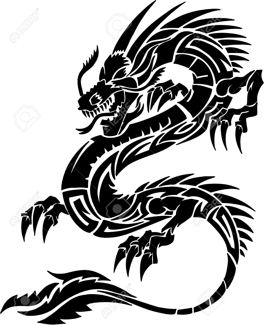 Download Free png Tribal Tattoo Dragon Vector Illustration.
