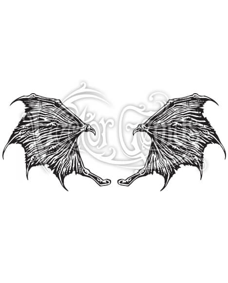 Scary Spiked Dragon Wings ClipArt.