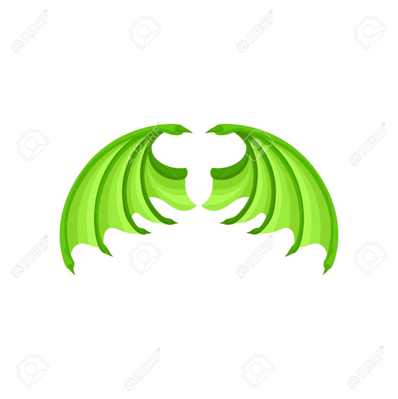Illustration of bright green dragon wings. Attribute of kids...
