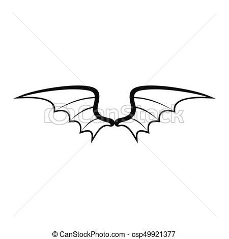 Dragon wings black simple silhouette icon vector illustration for design  and web isolated on white.