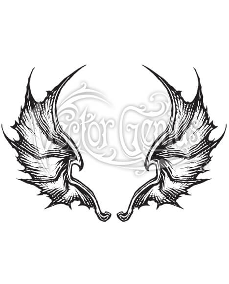 Detailed Dragon Wings ClipArt.