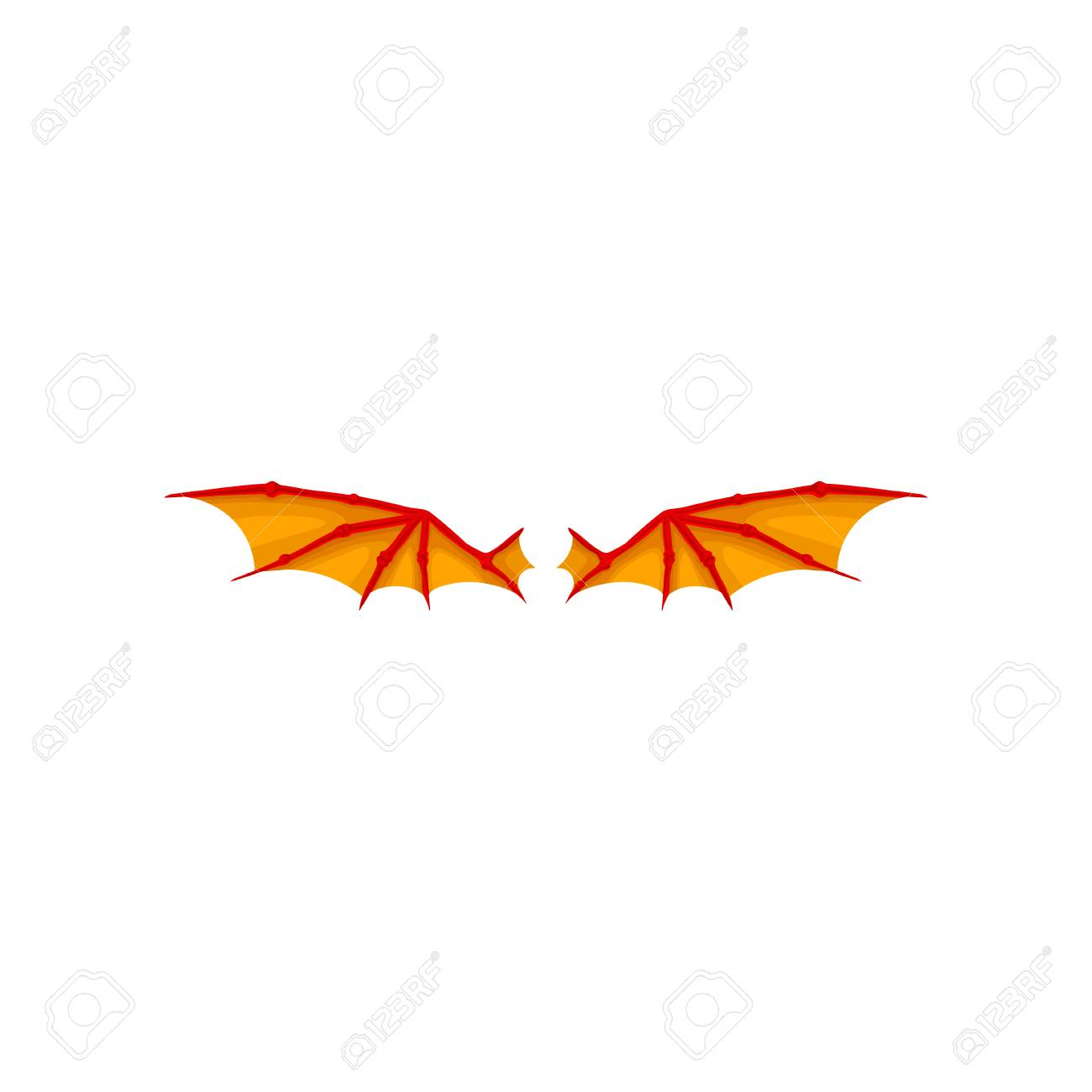 Colorful illustration of pair bright orange dragon wings. Accessory...