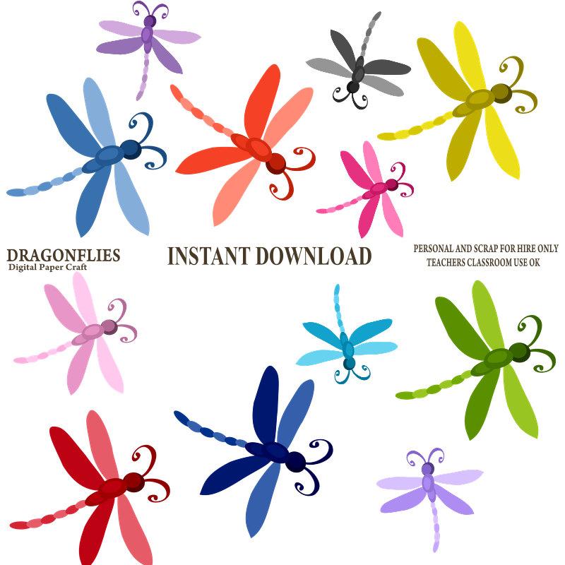 Dragonflies clip art.