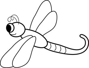 Dragonfly Clipart Image: Black and White Cartoon Dragonfly Coloring.