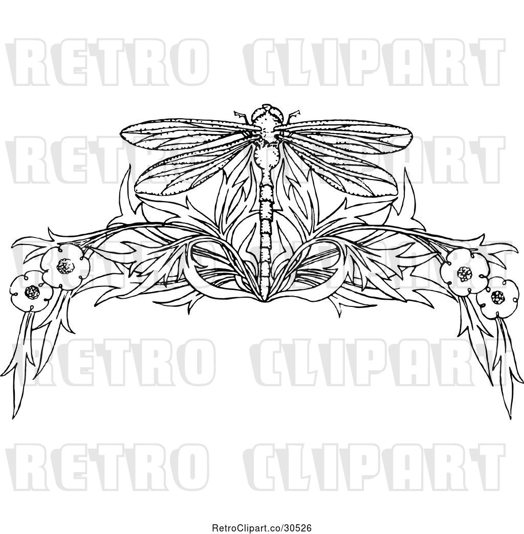 Vector Clip Art of Retro Dragonfly and Floral Page Border by.