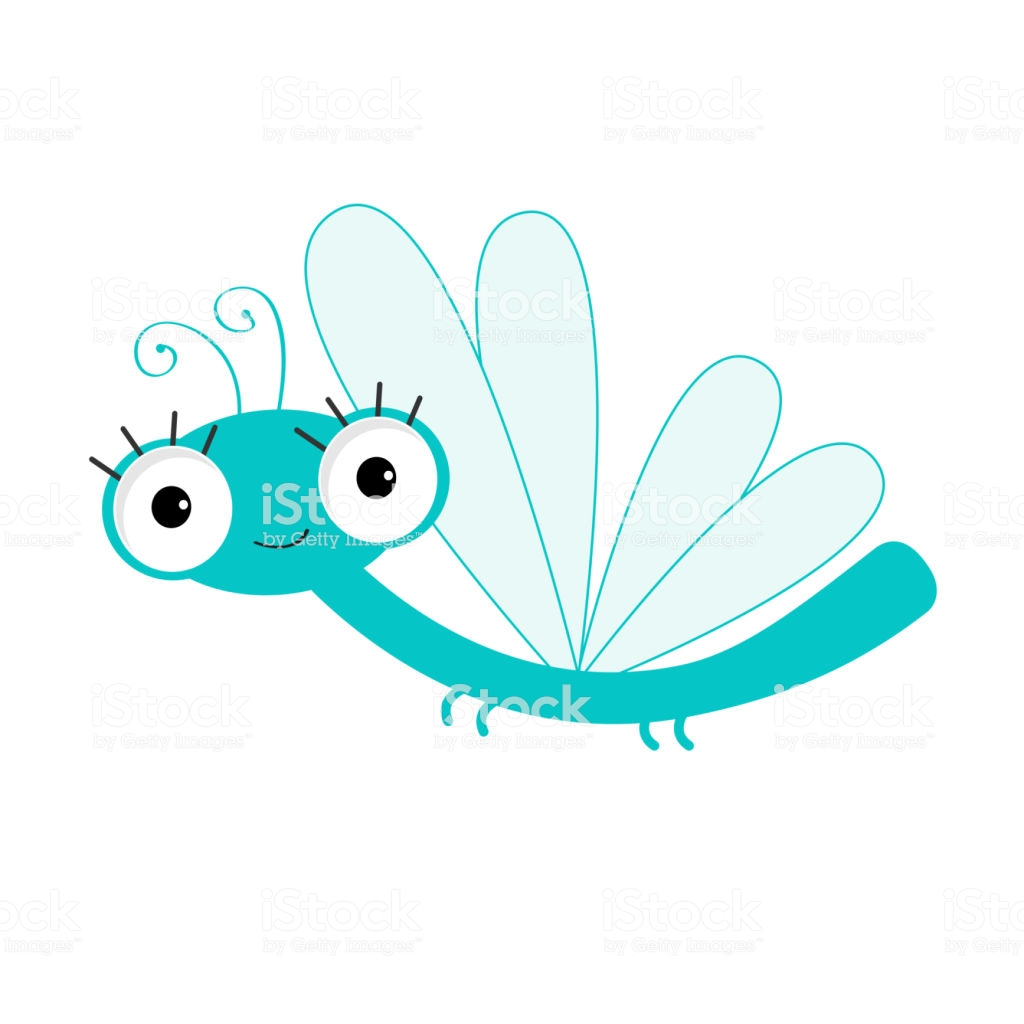 Cute Cartoon Dragonfly Character Insect Isolated White Background.