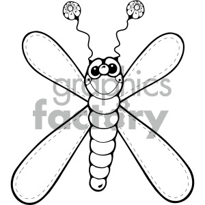 black and white dragonfly clipart. Royalty.