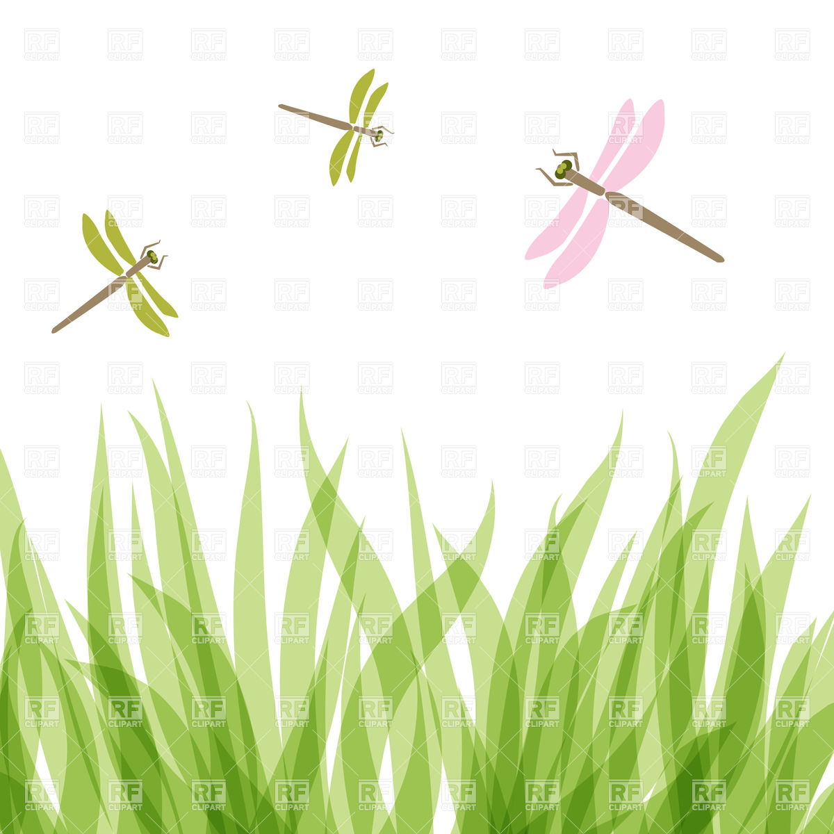 Dragonfly flying over grass Vector Image #22107.