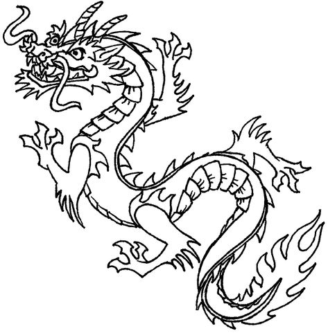 Chinese New Year Dragon Clipart Black And White.