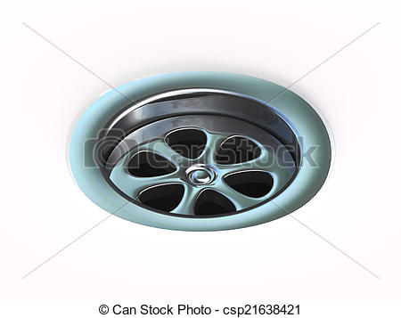 Clip Art of 3d Plug hole drain.