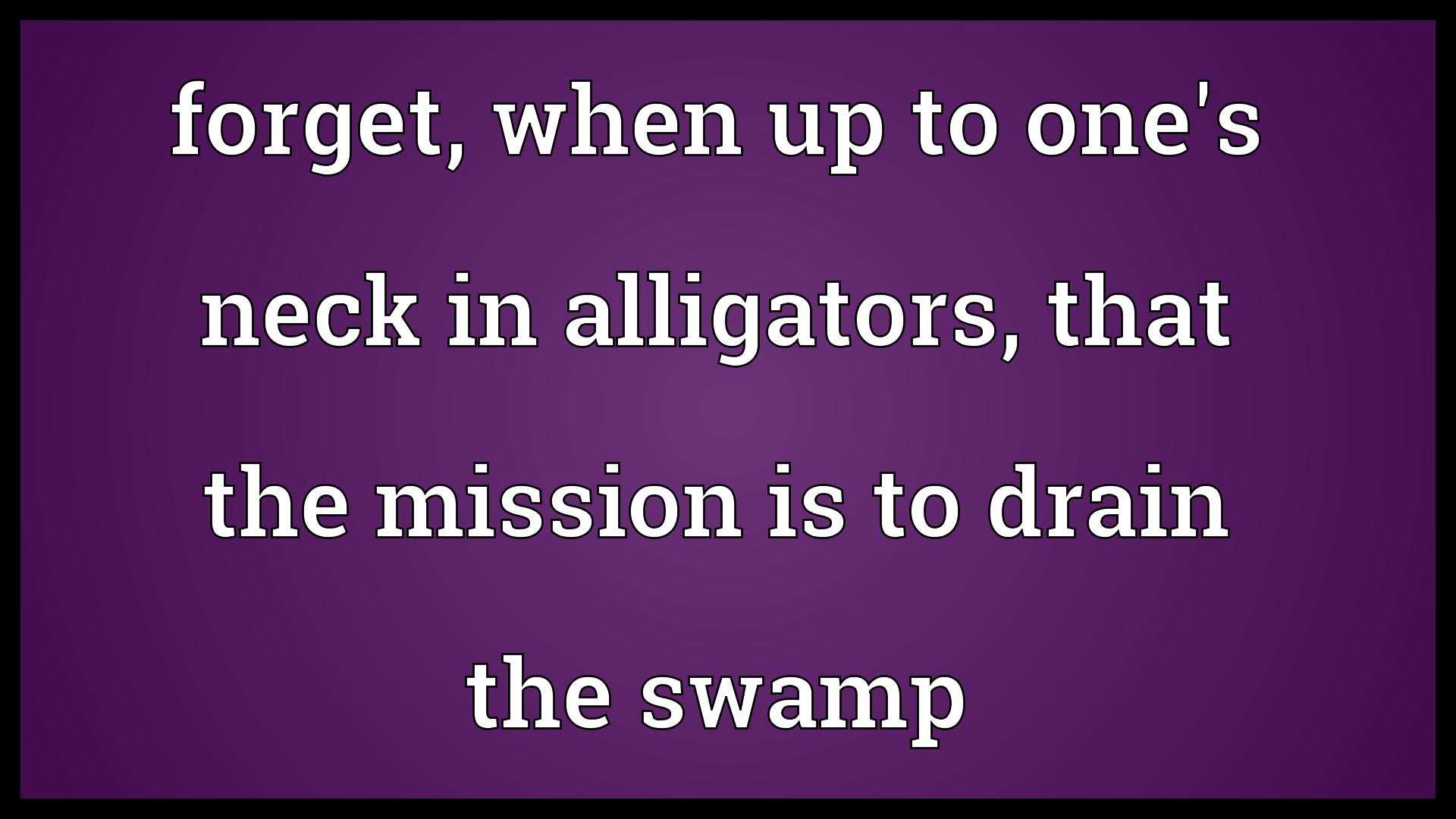 Forget, when up to one's neck in alligators, that the mission is.