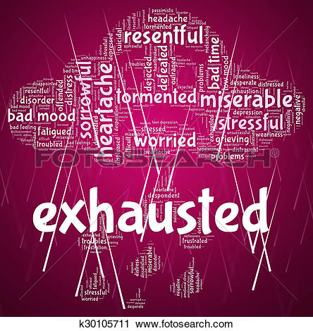 Clipart of Exhausted Word Represents Tired Out And Drained.