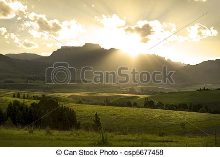 Pictures of Sunset over Drakensberg mountains, South Africa.