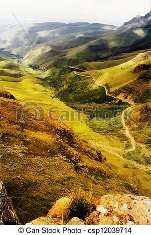 Clipart of Painting of Sani Pass in the Drakensberg Mountains to.