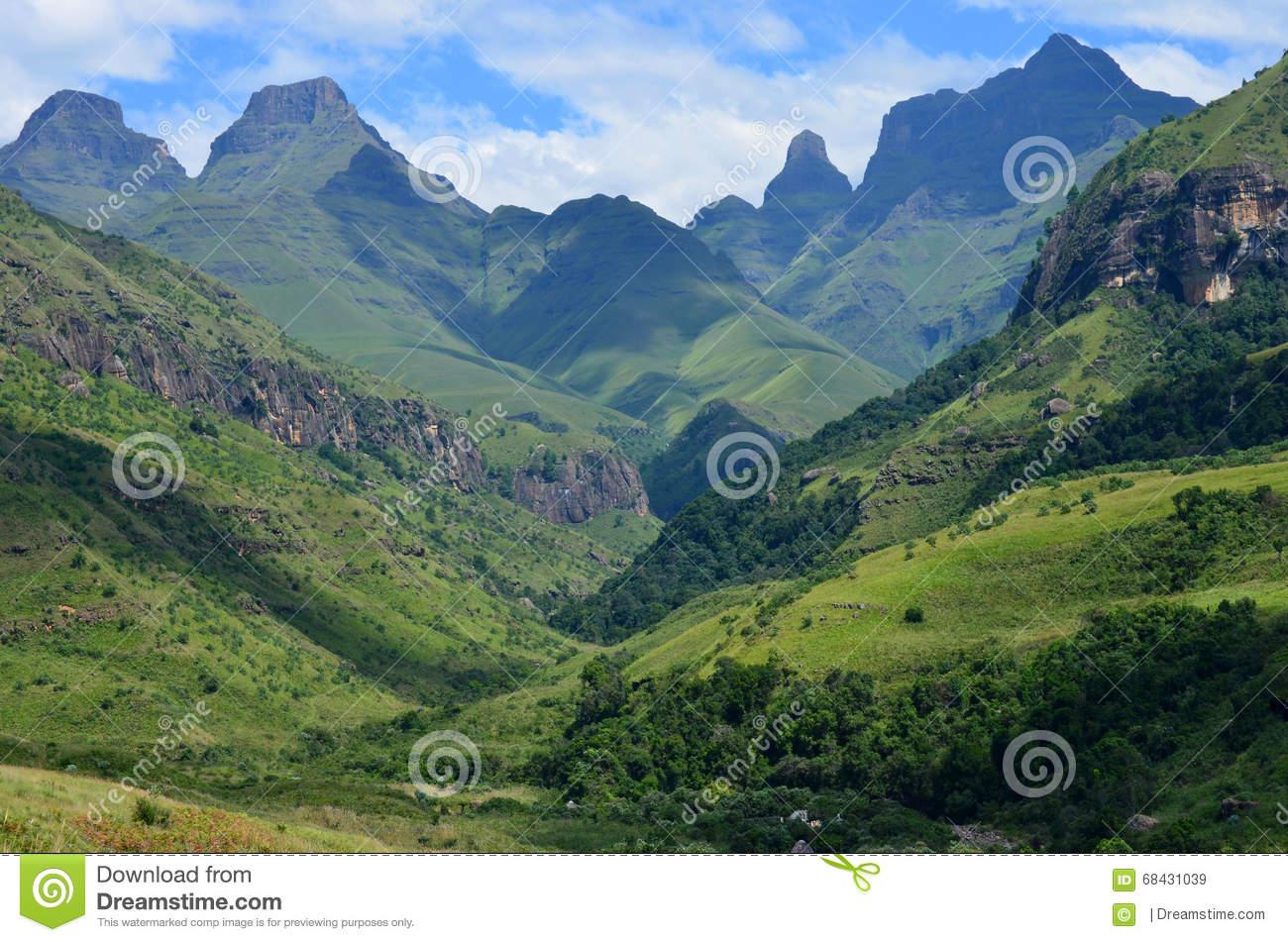 Cathedral Peak, Drakensberg Mountains, KZN, South Africa Stock.