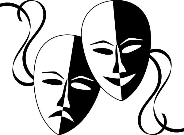 Dramatic masks clipart.