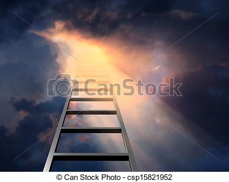 Stock Illustrations of Ladder into dramatic sky csp15821952.