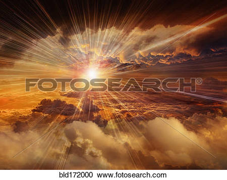 Stock Photography of Sunbeams shining through clouds in dramatic.