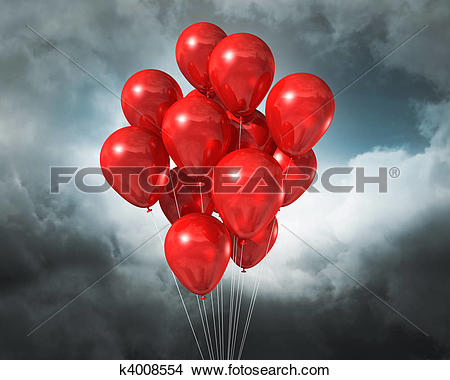 Stock Photo of red balloons on a cloudy dramatic sky k4008554.