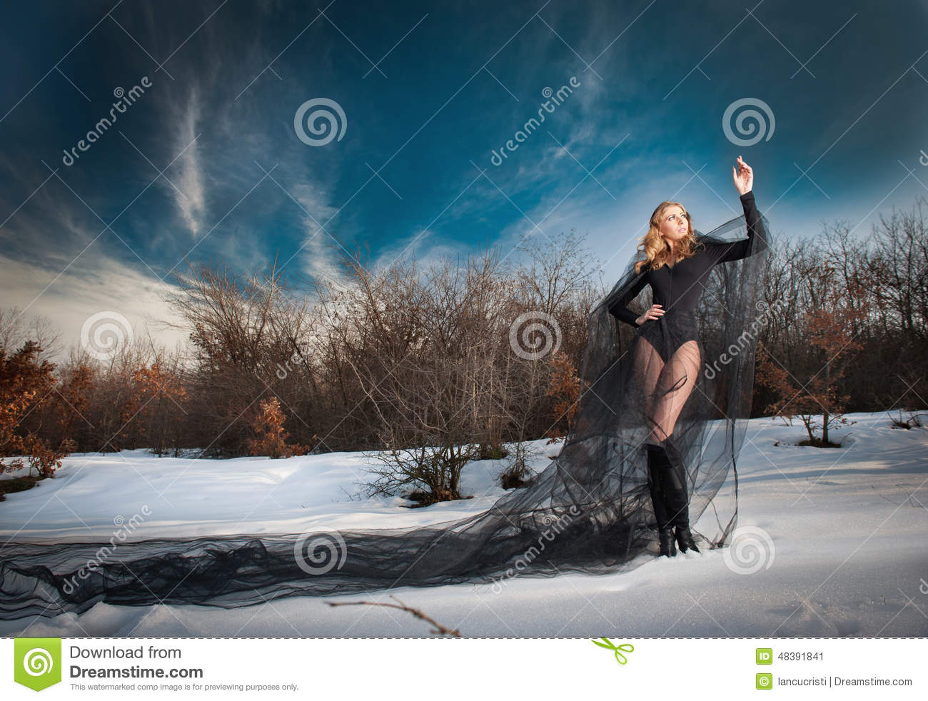 Lovely Young Lady Posing Dramatically With Long Black Veil In.