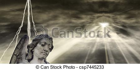 Drawings of Angel and dramatic Sky csp7445233.