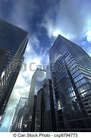 Drawings of Dramatic sky over modern building csp8794773.