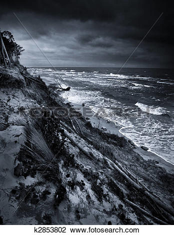 Stock Photo of Baltic coast with eroded beach and landslide after.