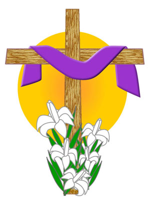 Easter Clip Art: Draped Cross Sunrise Graphic.