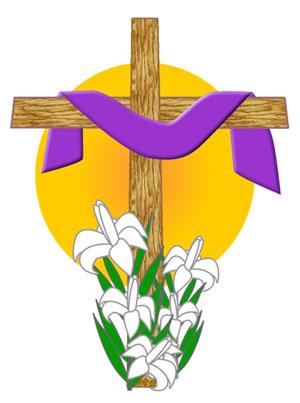 Easter Clip Art: Draped Cross Sunrise Graphic.