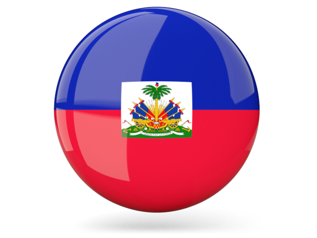 Glossy round icon. Illustration of flag of Haiti.