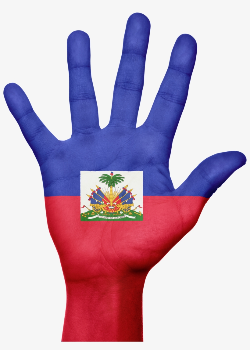 Haiti, Flag, Hand, National, Fingers, Patriotic.