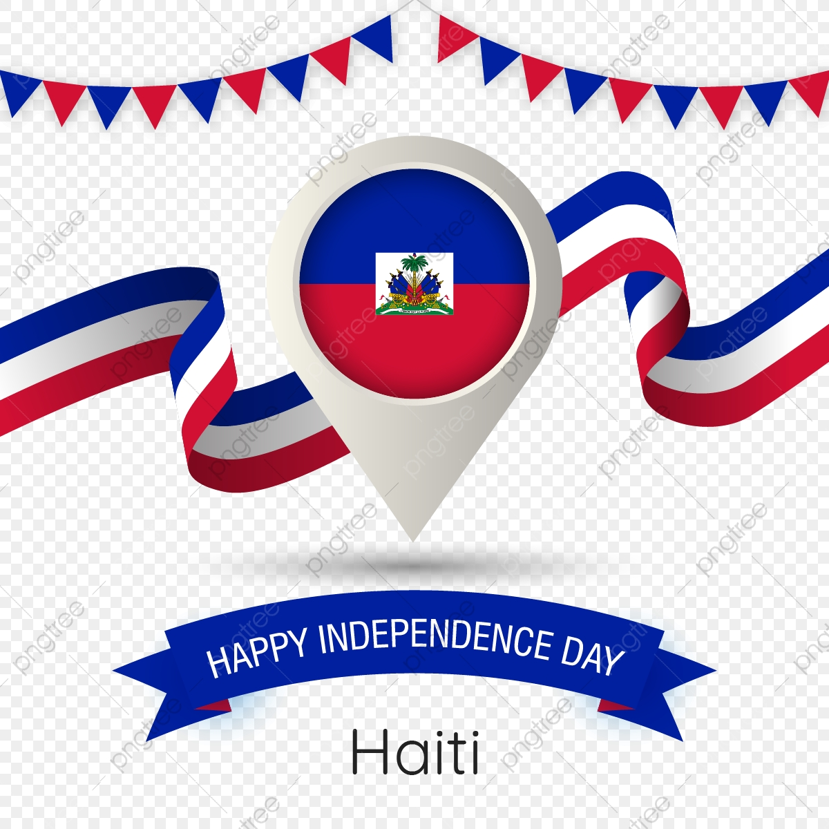 Haiti Independence Day With Stylized Country Flag Pin Illustration.