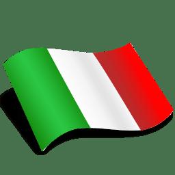 Drapeau Italien Icone dans le vent PNG transparents.