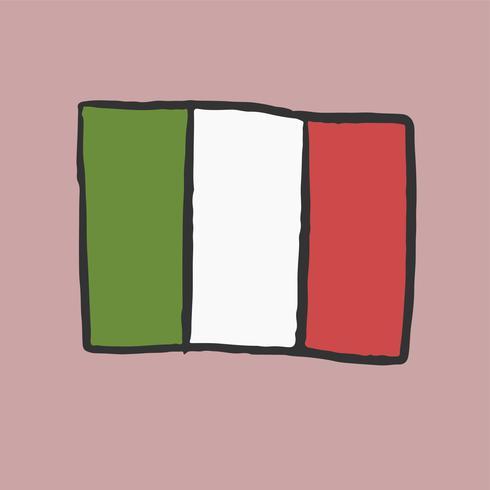 Drapeau de l'Italie dessiné à la main.
