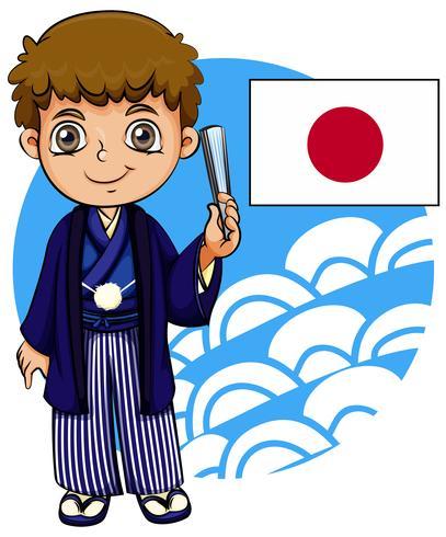 Garçon japonais avec drapeau.