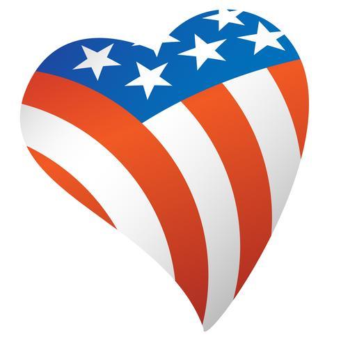 Drapeau américain patriotique usa coeur illustration.