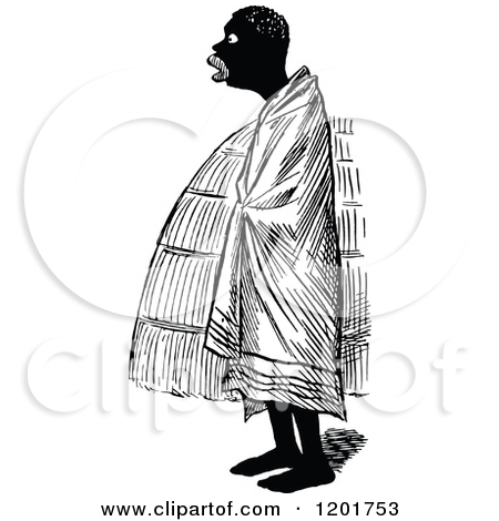 Clipart of a Vintage Black and White Black Man Draped in a Blanket.