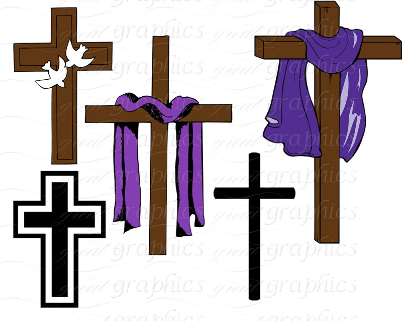 Cloth draped easter crosses clipart.