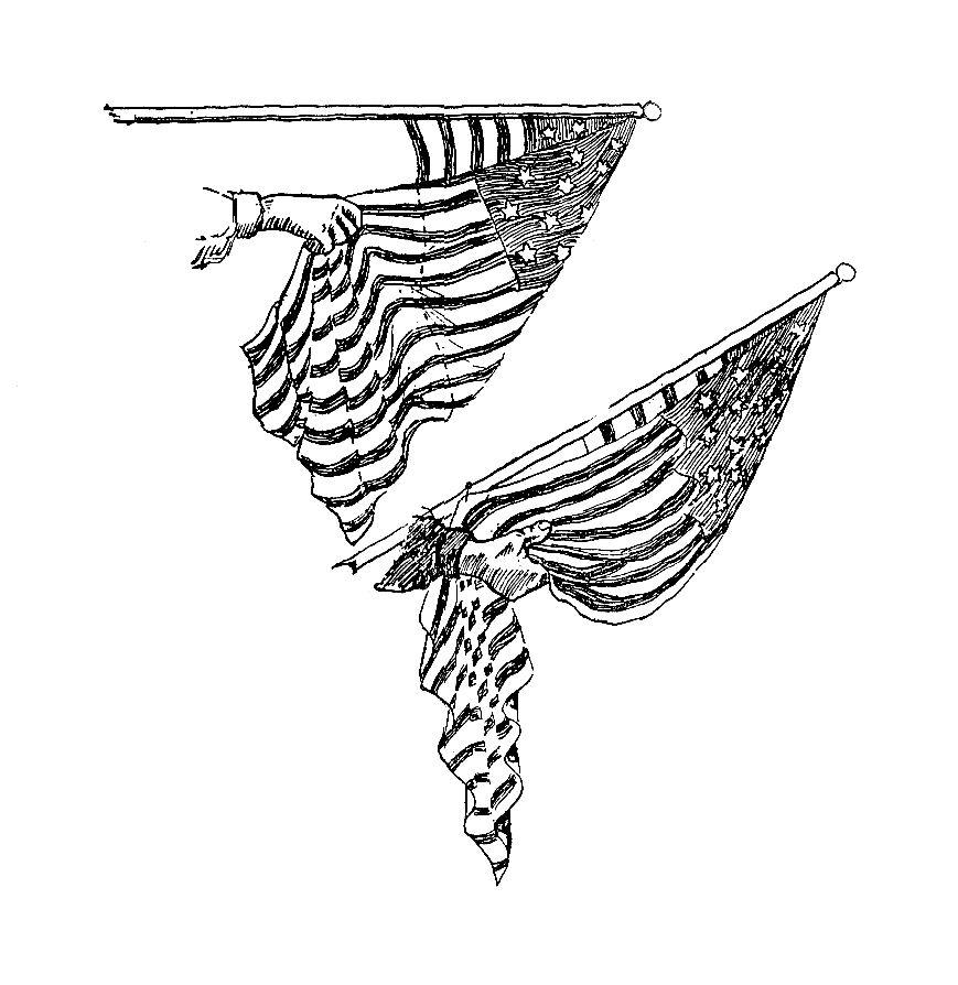 Draped American Flag Clipart.