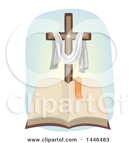 Clipart of a Christian Cross with a Draped Cloth over an Open.