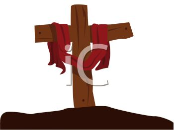 Wooden Cross Draped with Crucifixion Garment.