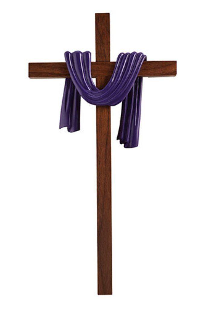 Lenten Wall Cross with Purple Draped Robe.
