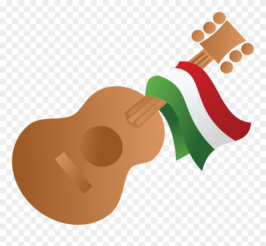 Free Clipart Of A Mexican Flag Draped On A Guitar.