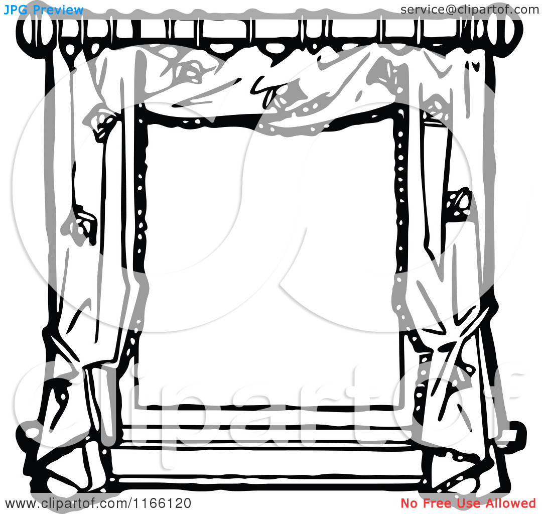 Clipart of a Retro Vintage Black and White Frame of Window Drapes.
