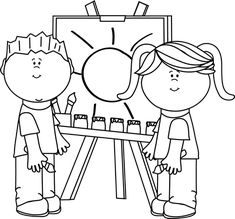Kids Painting Clipart Black And White.
