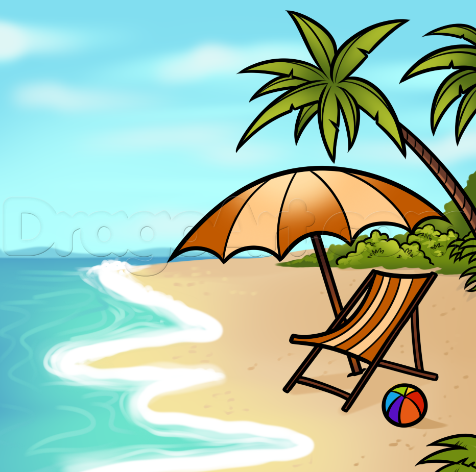 How to Draw a Beach Scene, Step by Step, Other, Landmarks.