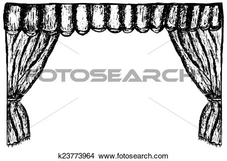 Clipart of hand draw sketch, with pen, curtain k23773964.