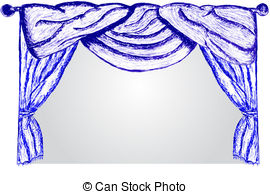 Clip Art Vector of hand draw sketch, with pen, curtain.